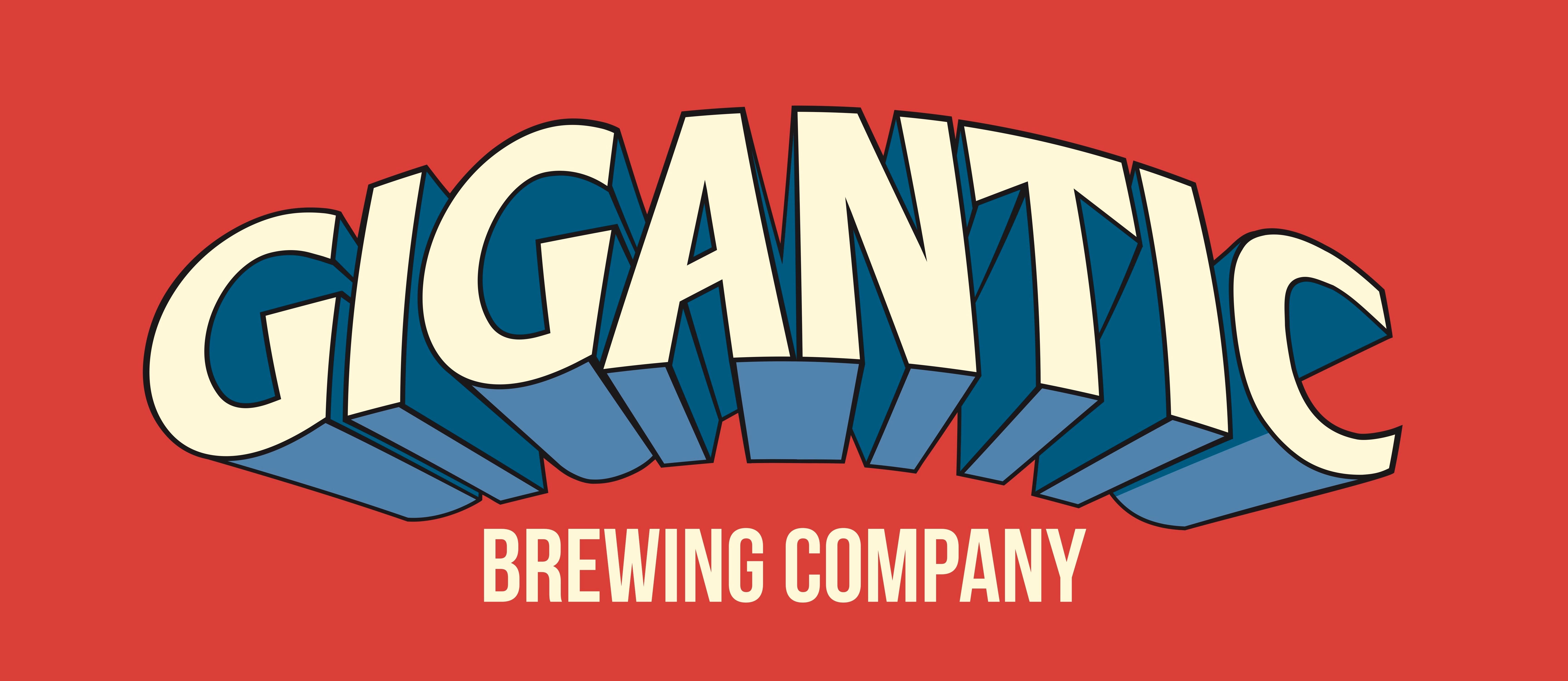 Gigantic logo blue on red